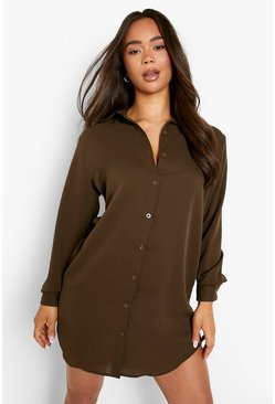 Khaki Oversized Dippped Hem Shirt Dress