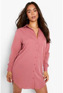 Rose pink Oversized Dippped Hem Shirt Dress