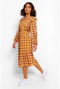 Mustard yellow Check Frill Detail Smock Midaxi Dress