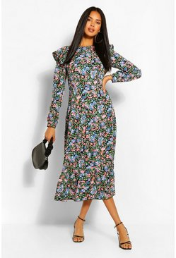 Blue Floral Frill Front Smock Dress