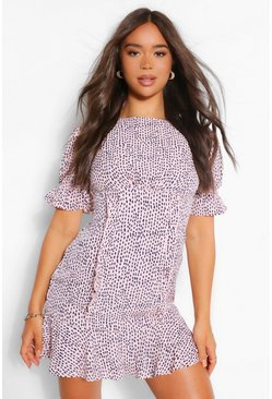 Pink Smudge Print Ruffle Front Skater Dress