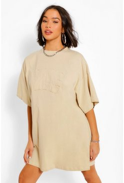 Robe t-shirt coupe oversize NYC, Sable beige