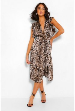 Brown Animal Print Ruffle Sleeve Midi Dress