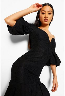 Black Lace Plunge Puff Sleeve Frill Hem Midi Dress