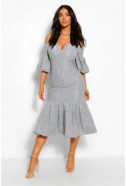 Grey Lace Plunge Puff Sleeve Frill Hem Midi Dress