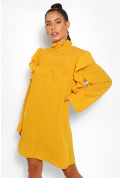 Mustard yellow High Neck Frill Detail Shift Dress