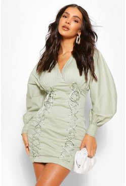Sage green Puff Sleeve Corset Detail Mini Dress