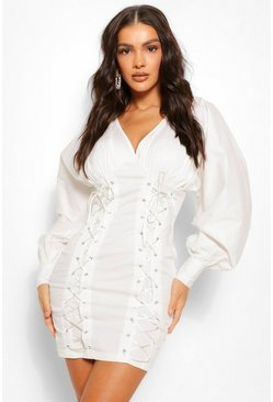 White Puff Sleeve Corset Detail Mini Dress
