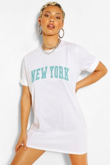 White New York Print T Shirt Dress