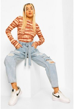 Mid blue blue Ripped Knee Belted Mom Jeans