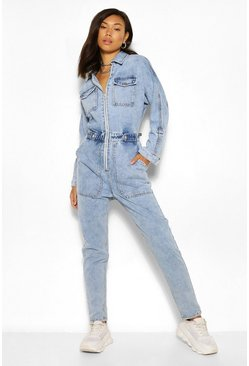 Indigo blue Denim boilersuit met zakken