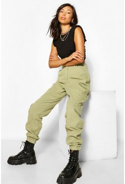 Khaki Denim Twill Cargo Trouser
