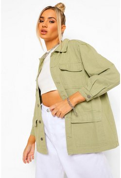 Khaki Denim Twill Cargo Denim Jacket