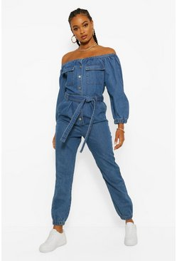 Indigo Denim Off Shoulder Belted Jumpsuit