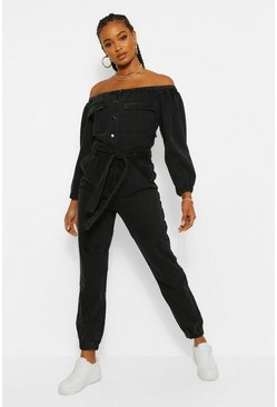Washed black Denim Jumpsuit Met Ceintuur En Open Schouders