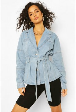 Mid blue Denim Belted Blazer Jacket
