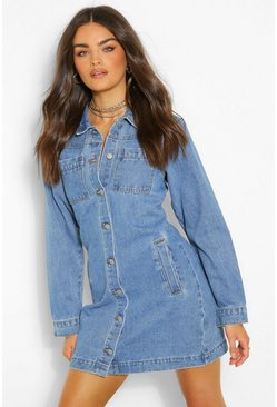 Indigo blue Button Pocket Denim Dress