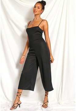 Black Ribbed Square Neck Culotte Jumpsuit