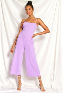 Lilac purple Ribbed Square Neck Culotte Jumpsuit