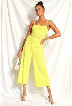 Lime green Ribbed Square Neck Culotte Jumpsuit