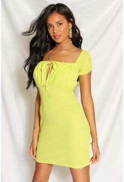 Lime green Ribbed Ruched Mini Dress