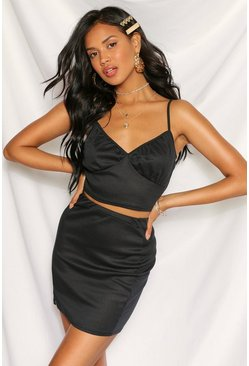 Black Ribbed Basic Mini Skirt
