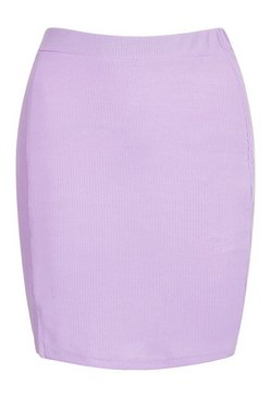 Lilac Ribbed Basic Mini Skirt