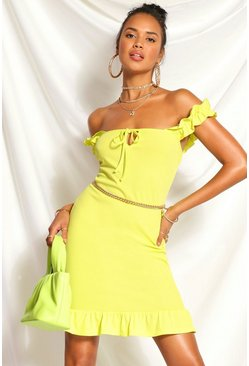 Lime green Ribbed Ruffle Bardot Mini Dress