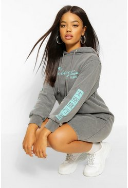 Grey Acid Wash Slogan Hooded Sweat Dress