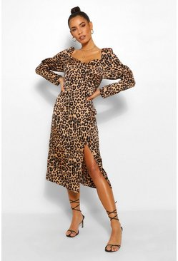 Tan Leopard Puff Sleeve Midi Dress