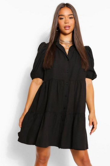 Black Woven Tierred Extreme Smock Dress