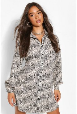 Stone beige Leopard Smock Shirt Dress