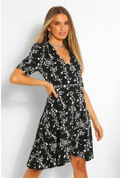 Floral Puff Sleeve Skater Dress, Black