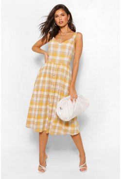 Mustard Check Dress With Button Detail