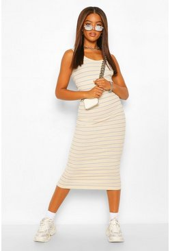 Cream white Rib Striped Vest Dress