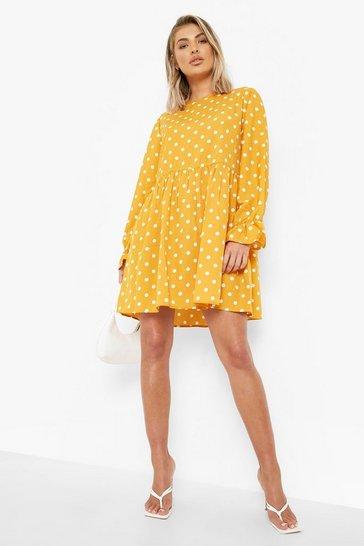Mustard yellow Polka Dot Frill Cuff Smock Dress