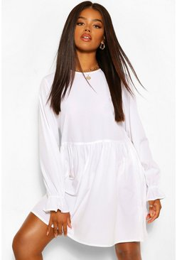 Ivory white Frill Cuff Smock Dress