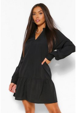 Black Balloon Sleeve Peplum Hem Shift Dress