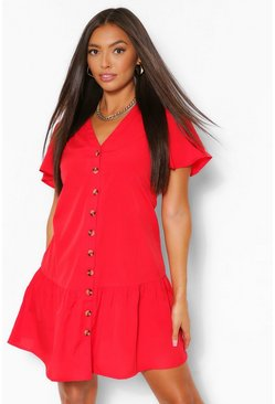 Red Button Down Frill Hem Shift Dress
