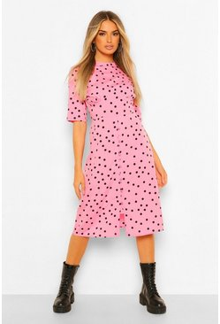 Pink Polka Dot Button Detail Midi Dress