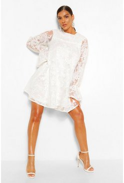 White Lace Tie Cuff Smock Dress