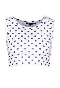 White Polka Dot Rib Cropped Vest Top