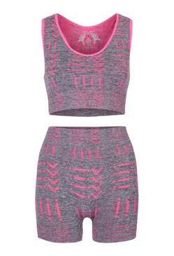 Pink Seamless Sports Bra and Short Set