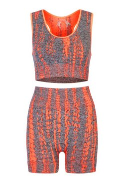 Orange Seamless Printed Sports Bra and Short Set