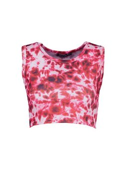 Red Tie Dye Rib Cropped Vest Top