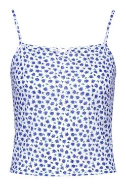 Ivory Ditsy Floral Rib Strappy Cami Top