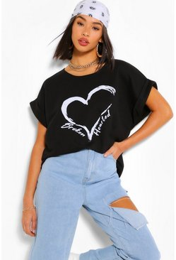 Black Broken Hearted Batwing Sweat Top