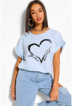 Blue Broken Hearted Batwing Sweat Top