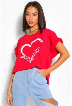 Red Broken Hearted Batwing Sweat Top
