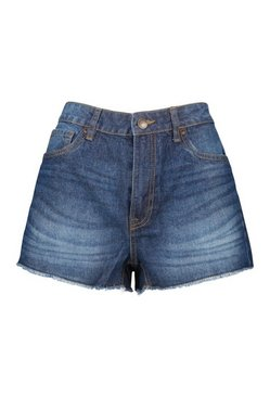 Dark blue Frayed Hem Denim Shorts